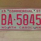 1997 North Carolina Commercial Truck License Plate NC Mint BA-5845