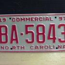 1997 North Carolina Commercial Truck License Plate NC Mint BA-5843