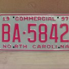 1997 North Carolina Commercial Truck License Plate NC Mint BA-5842