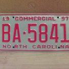 1997 North Carolina Commercial Truck License Plate NC Mint BA-5841