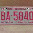 1997 North Carolina Commercial Truck License Plate NC Mint BA-5840