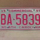 1997 North Carolina Commercial Truck License Plate NC Mint BA-5839