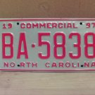 1997 North Carolina Commercial Truck License Plate NC Mint BA-5838