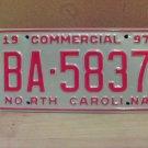 1997 North Carolina Commercial Truck License Plate NC Mint BA-5837