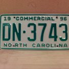 1996 North Carolina Commercial Truck EX License Plate NC DN-3743