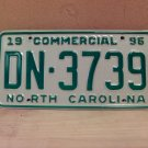 1996 North Carolina Commercial Truck EX License Plate NC DN-3739