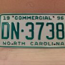 1996 North Carolina Commercial Truck EX License Plate NC DN-3738