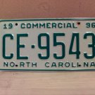 1996 North Carolina Commercial Truck EX License Plate NC CE-9543