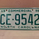 1996 North Carolina Commercial Truck EX License Plate NC CE-9542