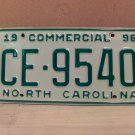 1996 North Carolina Commercial Truck EX License Plate NC CE-9540
