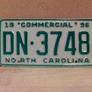 1996 North Carolina Commercial Truck License Plate NC DN-3748 With Registration