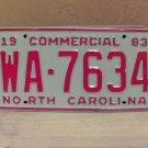 1983 North Carolina NC Common Carrier Truck License Plate Tag #WA-7634