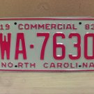 1983 North Carolina NC Common Carrier Truck License Plate Tag #WA-7630