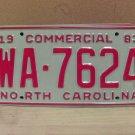 1983 North Carolina NC Common Carrier Truck License Plate Tag #WA-7624