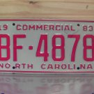 1983 North Carolina NC Commercial Truck License Plate Mint #BF-4878