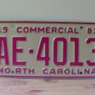 1983 North Carolina NC Commercial Truck License Plate EX #AE-4013