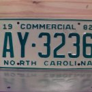 1982 North Carolina NC YOM Truck License Plate Mint AY-3236