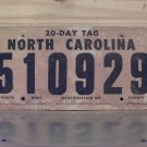 1980 North Carolina 20 Day Temporary License Plate NC #510929