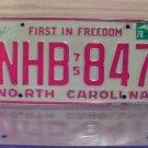 1978 North Carolina NC YOM Passenger License Plate NHB-847