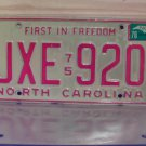 1978 North Carolina License Plate NC #JXE-920
