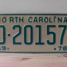 1978 North Carolina EX Trailer YOM License Plate NC #D-20157
