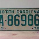 1978 North Carolina Trailer License Plate NC #A-86986