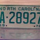 1978 North Carolina Trailer License Plate NC #A-28927