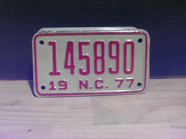 1977 North Carolina Motorcycle YOM License Plate NC 145890