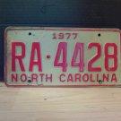 1977 North Carolina Rental Car 'U-Drive-It' License Plate NC #RA-4428
