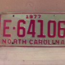 1977 North Carolina Trailer License Plate NC #E-64106