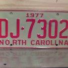 1977 North Carolina EX Truck YOM License Plate NC DJ-7302