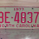1977 North Carolina EX Truck YOM License Plate NC BE-4837