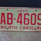 1977 North Carolina EX Truck YOM License Plate NC AB-4609