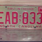 1977 North Carolina License Plate NC #EAB-833