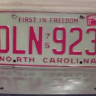 1977 North Carolina EX License Plate NC #DLN-923