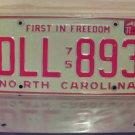 1977 North Carolina EX License Plate NC #DLL-893