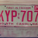 1977 North Carolina NC Passenger YOM License Plate EX KYP-707