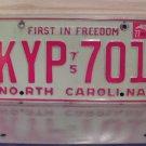 1977 North Carolina NC Passenger YOM License Plate EX KYP-701