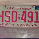 1976 North Carolina NC Passenger YOM License Plate EX HSD-491