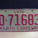 1975 North Carolina YOM Trailer License Plate Tag NC EX D-71683