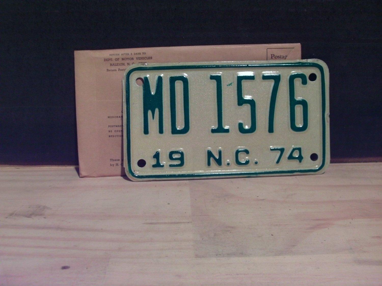 1974 North Carolina Motorcycle YOM License Plate NC MD-1576 Mint