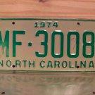 1974 North Carolina Mint Unissued YOM License Plate NC #MF-3008