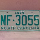 1974 North Carolina Mint Unissued YOM License Plate NC #MF-3055