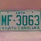1974 North Carolina Manufacturer License Plate NC #MF-3063 Mint