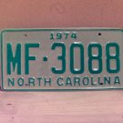 1974 North Carolina Manufacturer License Plate NC #MF-3088 Mint