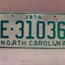 1974 North Carolina Trailer License Plate NC E-31036 VG Unissued