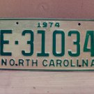 1974 North Carolina Trailer License Plate NC E-31034 VG Unissued