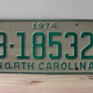 1974 North Carolina Trailer License Plate NC B-18532 EX