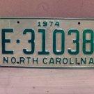 1974 North Carolina Trailer License Plate NC E-31038 VG Unissued