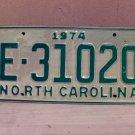 1974 North Carolina Trailer License Plate NC E-31020 VG Unissued
